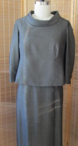 2 pc dress rolled collar